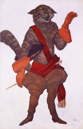 Costume design for 'Puss in Boots' in The Sleeping Princess, Leon Bakst, 1921. Museum no. 2006AU7772