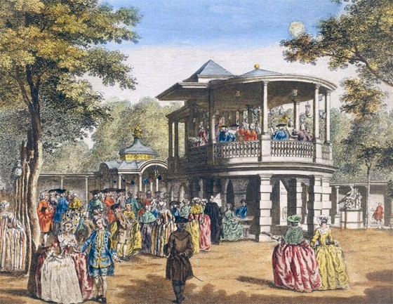 'Vauxhall Gardens showing the grand walk at the entrance of the garden and the orchestra with musick playing', Johann Sebastian Muller, about 1751. Museum no. W.27BB-1947