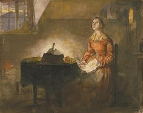 Sketch for 'The Poor Seamstress', by Richard Redgrave (1804-1888). Museum no. E.5755-1910