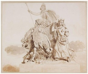 John Bell, Drawing for Sculpture of 'America', 1864. Museum no. E.546-2008