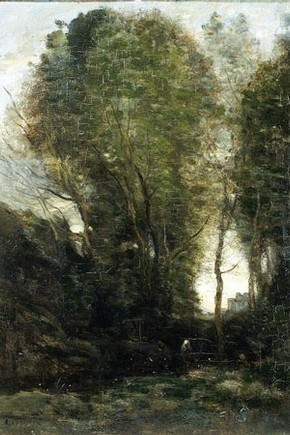 Twilight: Landscape with tall trees and a female figure, Jean Baptiste Camille Corot. Click to enlarge