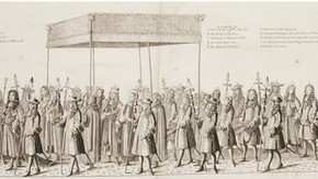 Engraving Showing the Canopy Held Over James II from Francis Sandford, The History of the Coronation of James II, London, 1687, V&A: National Art Library