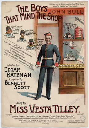 Music sheet cover for 'The Boys that Mind the Shop' sung by Vesta Tilley, late 19th to early 20th century. © Victoria and Albert Museum, London
