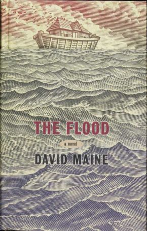 Bill Sanderson (illustrator) and Steve Snider (designer), cover with dust-jacket to The Flood by David Maine, first published in Great Britain by Canongate Books Ltd, 14 High Street, Edinburgh, EH1 1TE