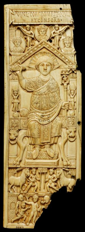 Leaf of a diptych of the Consul Anastasius, 517 AD, Istanbul, Turkey, ivory. Museum no. 368-1871, © Victoria and Albert Museum, London