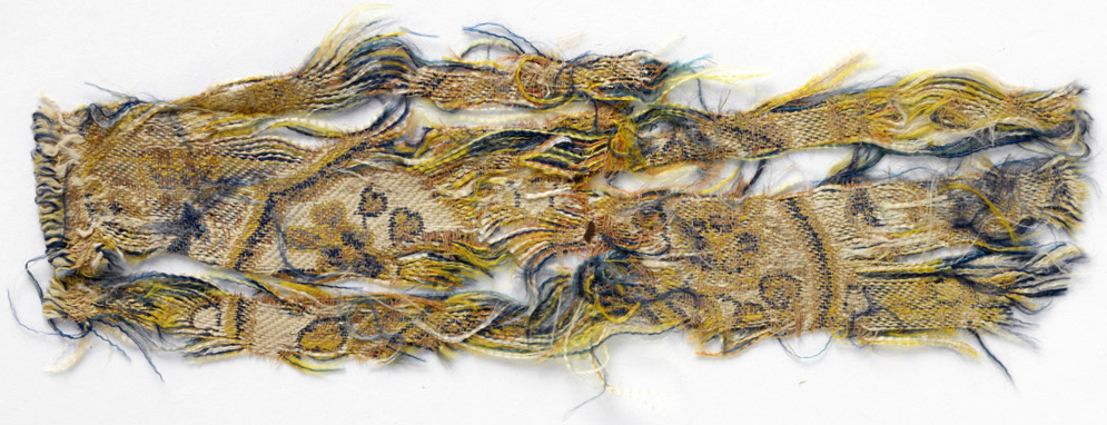 Floral Silk Fragment, Hami, 700 800 AD, Weft Faced Compound Weave In