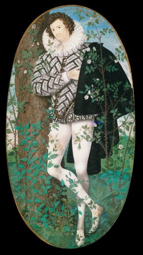 JPortrait miniature of A Young Man Leaning Against a Tree Amongst Roses, possibly Robert Deveraux, 2nd Earl of Essex (1566-1601), by Nicholas Hilliard, 1585-95. Museum no. P.163-1910, © Victoria and Albert Museum, London