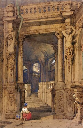 'Entrance to the Zwinger', by Samuel Prout, watercolour. Museum no. 3055-1876, © Victoria and Albert Museum, London
