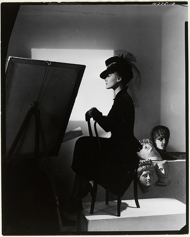 Hat and coat-dress by Bergdorf Goodman, modelled by Estrella Boissevain, 1938. © Condé Nast/Horst Estate