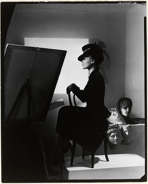 Hat and coat-dress by Bergdorf Goodman, modelled by Estrella Boissevain, 1938. © Condé Nast/Horst Estate