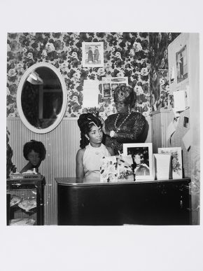 Raphael Albert, 'Beauty Salon', circa 1960s/70s, from the portfolio 'Black Beauty Pageants'. Museum no. E.315-2013.  © Raphael Albert/ Autograph ABP/ Victoria and Albert Museum, London. Supported by the National Lottery through the Heritage Lottery Fund.