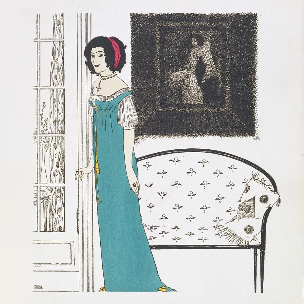 Plate 4 from  Les Robes de Paul Poiret, racontées par Paul Iribe  pochoir  colour print by Paul Iribe, published by Paul Poiret, 1908. Pressmark  211073 NAL 8948c5790617