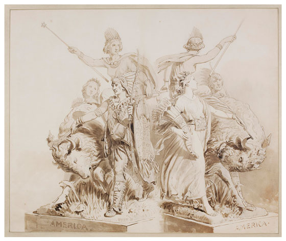 Drawings for the sculpture of 'America'