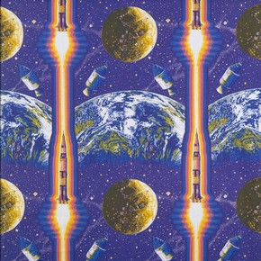 'Lunar Rocket', furnishing fabric, Eddie Squires, 1969. Museum no. CIRC.45-1970