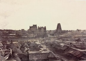 'View of the line of Gopurams from the top of the Raya Gopuram', photography by Linnaeus Tripe, 1858. Museum no. IS.45:3-1889
