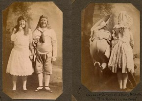 Nicholls and Campbell as the Babes in the Wood, sepia photograph, late 19th century.  Victoria and Albert Museum, London