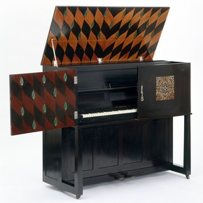 'Manxman' piano, designed by Mackay Hugh Baillie Scott for John Broadwood, about 1896, made about 1902-3. Museum no. W.15:1-1976