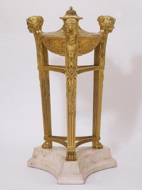 Gilt-bronze perfume burner on marble plinth, designed by James Stuart, made by Diederich Nicolaus Anderson, London, England, about 1760. Museum no. M.46:1-1948