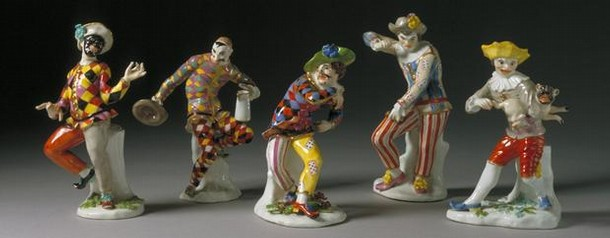 Group of porcelain Commedia dell'Arte figurines, by JJ Kandler for Meissen, Germany, about 1740-43. Museum nos. C.15, 11, 10, 13, 9-1984, © Victoria and Albert Museum, London