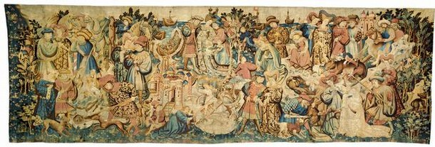 'Swan and Otter Hunt', woven wool tapestry, Netherlands, possibly Arras, 1430s.