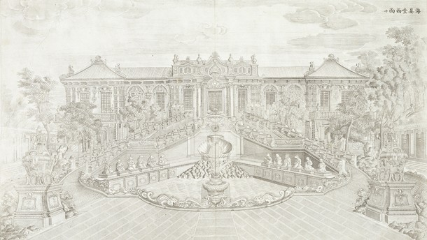 Copperplate engraving of a European Pavilion at the Garden of Perfect Clarity in Yuanmingyuan, Beijing, China, after drawings by Yi Lantai, 1781–6. Museum no. 29452