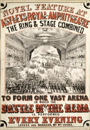 Astley's stages the Battle of the Alma, postcard, lithograph in black and red, mid 19th century. Museum no.S.545-1994