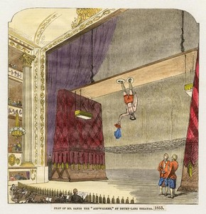 Mr Sands the 'Air Walker', Drury Lane Theatre, London, 1853