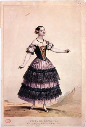 Print of Fanny Elssler, colour lithograph, about 1836