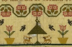 Sampler, 1789. Museum no. T.292-1916. Given by Frances M Beach