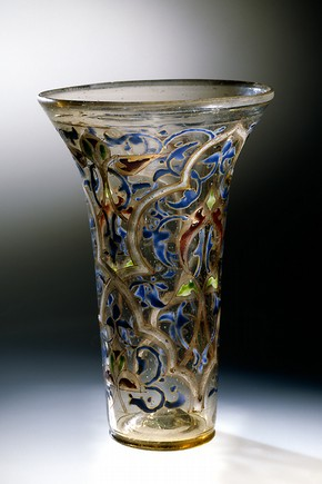 Gilt and enamelled clear glass known as 'The Luck of Edenhall', Syria, 14th century. Museum no. C.1-1959