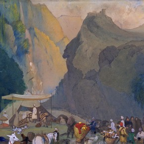 Mountain scene by George Landseer, India, 19th century. Museum no. IS.41:2-1881