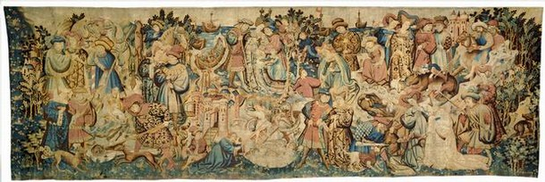 Tapestry with scenes of an otter and swan hunt, probably made in Arras, Netherlands, 1430s. Museum no. T.203-1957