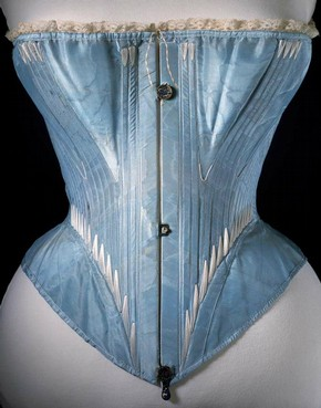 Corset (front view), blue silk stiffened with whalebone, possibly English or French, 1864. Museum no. T.169-1961