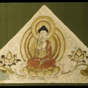 Triangular top section of a banner showing the Buddha and lotus flowers. Museum no. Loan:Stein:490