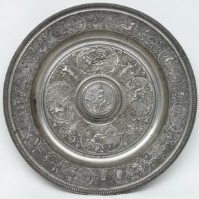 François Briot, dish, Pewter with cast reliefs, France, ca. 1585, bought by the Museum from the Bernal collection in 1855