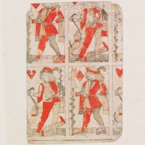 Uncut sheet of woodblock-printed playing cards, by Gilles Savoure, Lyon, France, 1490-1500. Museum no. E.988-1920