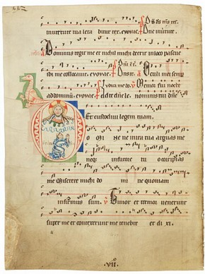 'Domine ne in ira tua', leaf from a choirbook, Germany or northern Netherlands, about 1250. Museum no. 1517