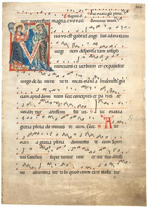 'Missus est Gabriel', leaf from a choirbook, Germany or northern Netherlands, about 1250. Museum no. 1519