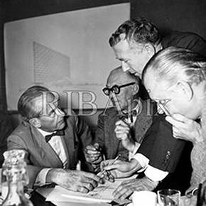 Walter Gropius, Le Corbusier, Marcel Breuer and Sven Markelius, Paris, 1952