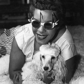 Winifred Atwell wearing an Oliver Goldsmith design, 1964