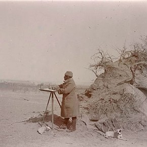 Stein at his plane table surveying in the Taklamakan Desert. © The British Library