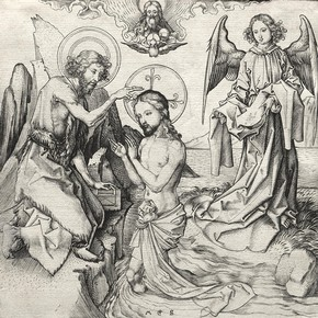 The Baptism of Christ in the Jordan, engraving by Martin Schongauer, Germany, 1450-91. John L. Severance Fund 1952.78T. The Cleveland Museum of Art