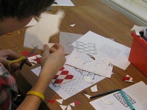 Student developing pattern motifs based on the details and shapes they had recorded in the Museum
