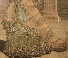 Figure 24 - Detail of gown and the bottom of left sleeve, Mademoiselle Subligny dansant a l'Opera, Jean Mariette (publisher), 1688-1709. Museum no. 1197-1875, given by Lady Wyatt, photography by Alice Dolan