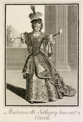 Figure 2 - Engraving, Mademoiselle Subligny Dansant a lOpera, Jean Mariette (publisher), Paris, about 1688-1709. Museum no. 4956-1968