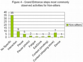 Figure 4 - Grand Entrance steps most commonly observed activities for Non-sitters