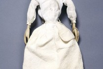 Lady Clapham in her under-petticoat, with pocket tied around her waist, England, 1690s. Museum no. T.846-1974