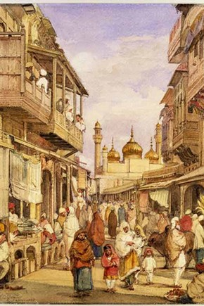 &#39;Crowded street scene in Lahore&#39; by William Carpenter, 1855, Museum no. IS.53-1882