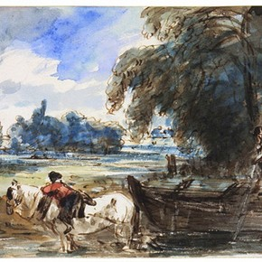 John Constable, 'A Barge on the Stour', about 1832, Museum no. 237-1888