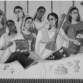 Figure 2. Detail showing paint loss, Group of Female Musicians, by Shiva Lal, 1860.